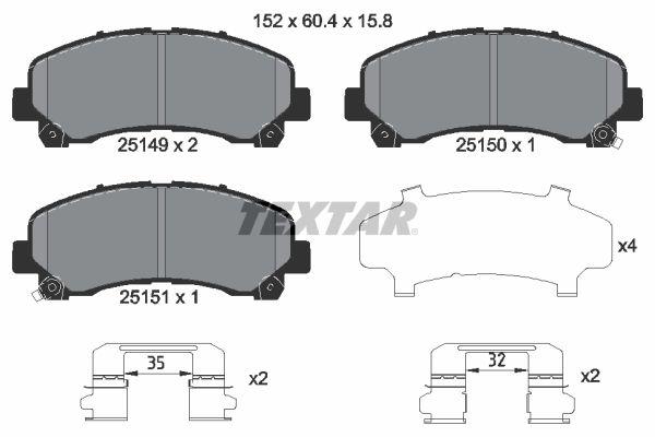 TEXTAR  2514901 Bremsbelagsatz, Scheibenbremse Breite: 152mm, Höhe: 60,4mm, Dicke/Stärke: 15,8mm