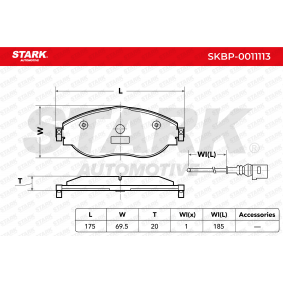 Brake Pad Set, disc brake Width 1: 175mm, Height 1: 69,5mm, Thickness: 20mm with OEM Number 5Q0698151L