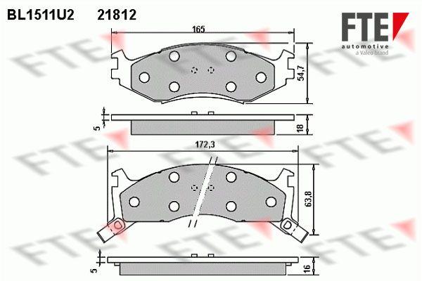 FTE  BL1511U2 Bremsbelagsatz, Scheibenbremse Breite 1: 165mm, Breite 2: 172,3mm, Höhe 1: 54,7mm, Höhe 2: 63,8mm, Dicke/Stärke: 18mm