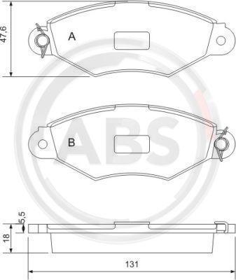 A.B.S.  37040 Bremsbelagsatz, Scheibenbremse Breite 1: 131mm, Höhe 1: 47,6mm, Dicke/Stärke 1: 18,0mm