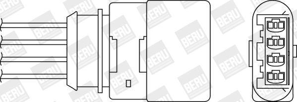 BERU  OPH071 Lambdasonde Kabellänge: 1,300mm