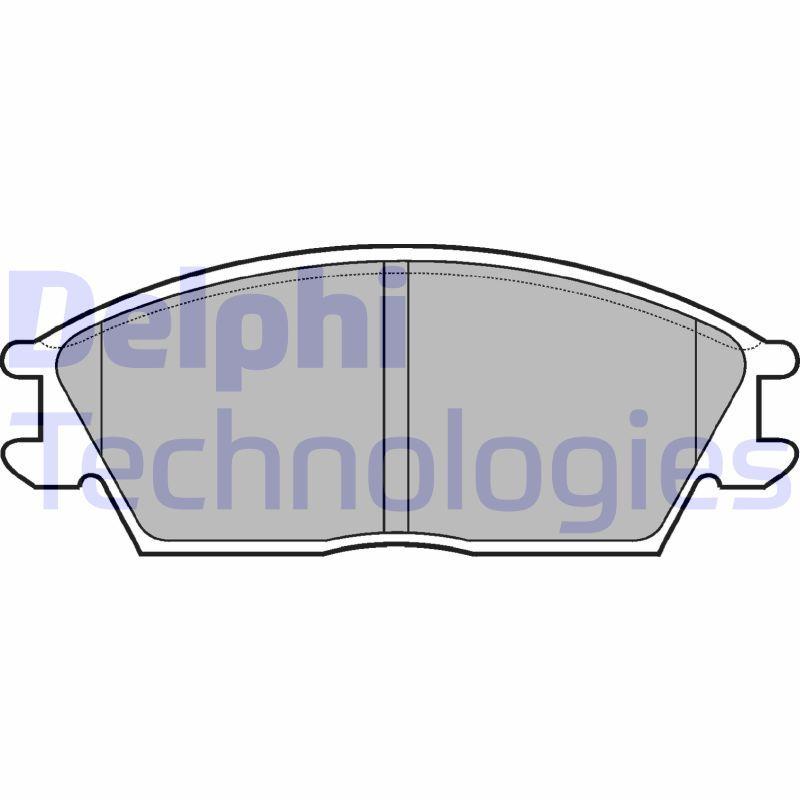 DELPHI  LP704 Bremsbelagsatz, Scheibenbremse Höhe 2: 49mm, Höhe: 49mm, Dicke/Stärke 1: 14mm, Dicke/Stärke 2: 14mm