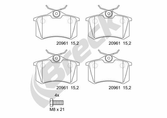 Bremsbeläge 20961 00 704 00 BRECK 20961 00 704 00 in Original Qualität