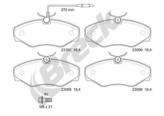 Bremsbeläge 23099 00 703 10 BRECK 23099 00 703 10 in Original Qualität