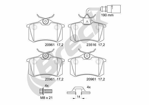 Bremsbeläge 23554 10 704 10 BRECK 23554 10 704 10 in Original Qualität