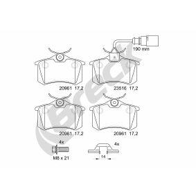 Bremsbelagsatz, Scheibenbremse Höhe: 52,80mm, Dicke/Stärke: 17,20mm mit OEM-Nummer 6Q0 698 451