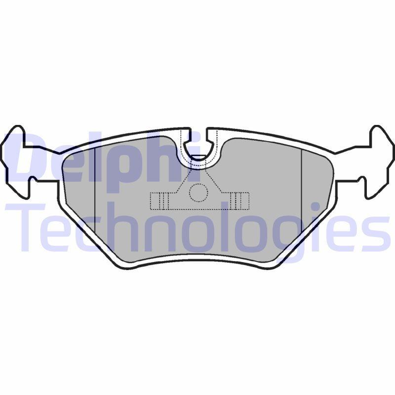 DELPHI  LP555 Bremsbelagsatz, Scheibenbremse Höhe 2: 45mm, Höhe: 45mm, Dicke/Stärke 1: 17mm, Dicke/Stärke 2: 17mm