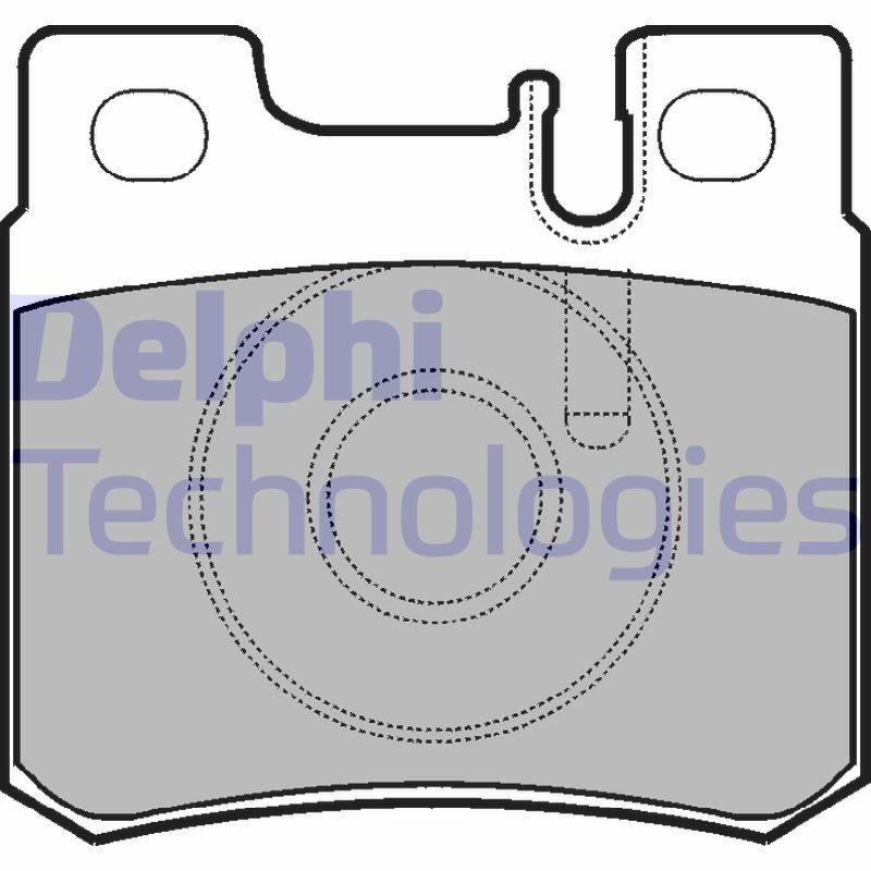 DELPHI  LP946 Bremsbelagsatz, Scheibenbremse Höhe 2: 58mm, Höhe: 58mm, Dicke/Stärke 1: 15mm, Dicke/Stärke 2: 15mm