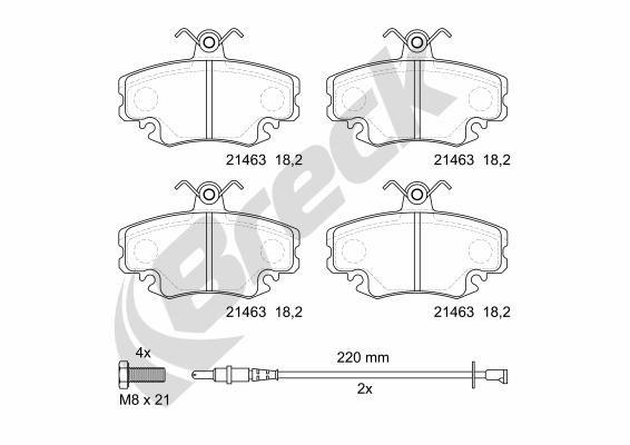 Bremsbeläge 21463 00 702 10 BRECK 21463 00 702 10 in Original Qualität