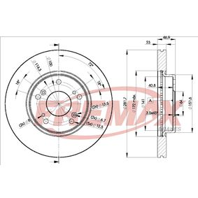 Brake Disc Brake Disc Thickness: 23mm, Ø: 282mm, Ø: 282mm with OEM Number 45251TA0A01