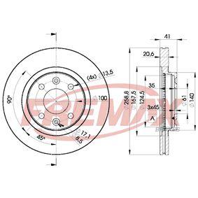 Bremsscheibe Bremsscheibendicke: 20,6mm, Ø: 259mm mit OEM-Nummer 86 71 005 976