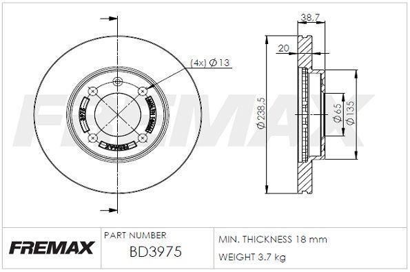 Bremsscheiben BD-3975 FREMAX BD-3975 in Original Qualität