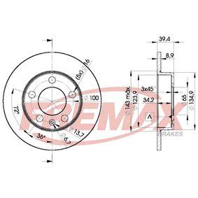 Bremsscheibe Bremsscheibendicke: 9mm, Ø: 232mm mit OEM-Nummer 2Q0615601H