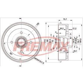 Bremstrommel Trommel-Ø: 210mm, Felge: 4-loch mit OEM-Nummer 191.501.615B
