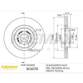 Brake Disc Brake Disc Thickness: 29,5mm, Ø: 345mm, Ø: 345mm with OEM Number 8K0 615 301 Q