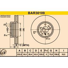 Barum  BAR30109 Bremsscheibe Bremsscheibendicke: 30,0mm, Lochanzahl: 5, Ø: 332,0mm