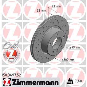 ZIMMERMANN SPORT COAT Z 150.3497.52 Bremsscheibe Bremsscheibendicke: 22mm, Lochanzahl: 5, Ø: 300mm