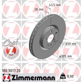 ZIMMERMANN COAT Z 180.3017.20 Bremsscheibe Ø: 285mm
