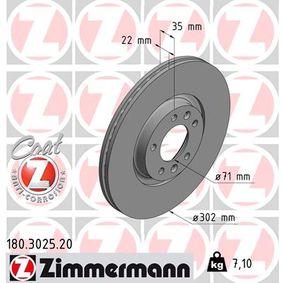 Bremsscheibe Bremsscheibendicke: 22mm, Felge: 5-loch, Ø: 302mm mit OEM-Nummer 96 87 990 780