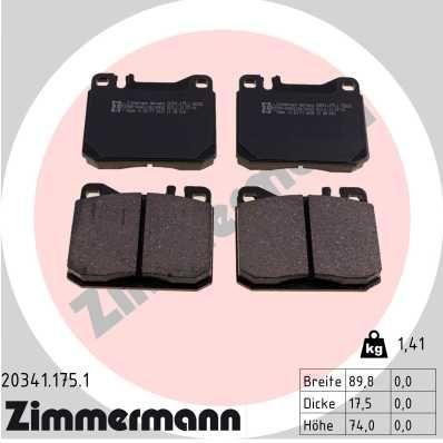 ZIMMERMANN  20341.175.1 Bremsbelagsatz, Scheibenbremse Breite: 90mm, Höhe: 74mm, Dicke/Stärke: 18mm