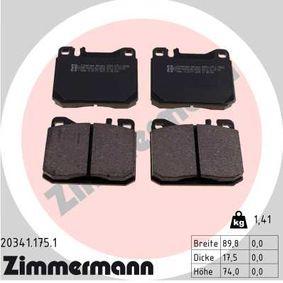 Bremsbelagsatz, Scheibenbremse Breite: 90mm, Höhe: 74mm, Dicke/Stärke: 18mm mit OEM-Nummer A 001 420 75 20