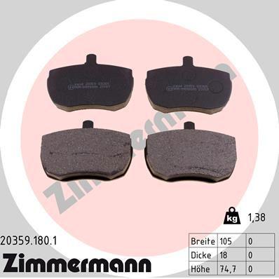 ZIMMERMANN  20359.180.1 Bremsbelagsatz, Scheibenbremse Breite: 105mm, Höhe: 75mm, Dicke/Stärke: 18mm