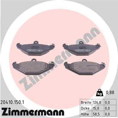 ZIMMERMANN  20410.150.1 Bremsbelagsatz, Scheibenbremse Breite: 126mm, Höhe: 58mm, Dicke/Stärke: 15mm