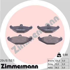 Bremsbelagsatz, Scheibenbremse Breite: 126mm, Höhe: 58mm, Dicke/Stärke: 15mm mit OEM-Nummer 7701203 124