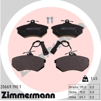 ZIMMERMANN  20669.190.1 Bremsbelagsatz, Scheibenbremse Breite: 119mm, Höhe: 70mm, Dicke/Stärke: 19mm