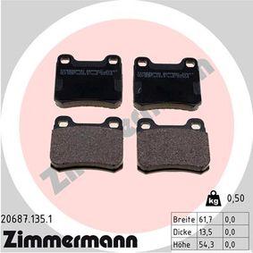 Bremsbelagsatz, Scheibenbremse Breite: 61,7mm, Höhe: 54,3mm, Dicke/Stärke: 13,5mm mit OEM-Nummer A 000 420 8820
