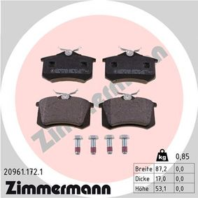 ZIMMERMANN Jogo de pastilhas para travão de disco 20961.172.1 com códigos OEM E172204