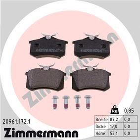 ZIMMERMANN Bromsbeläggssats, skivbroms 20961.172.1 med OEM Koder E172204
