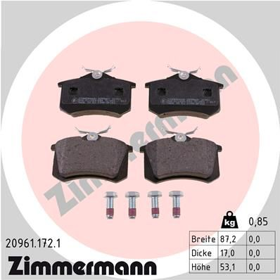 ZIMMERMANN  20961.172.1 Juego de pastillas de freno Ancho: 87,2mm, Altura: 53,1mm, Espesor: 17,0mm