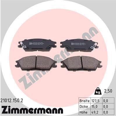 ZIMMERMANN  21012.150.2 Bremsbelagsatz, Scheibenbremse Breite: 128mm, Höhe: 49mm, Dicke/Stärke: 15mm