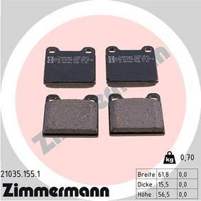 ZIMMERMANN Bremsbelagsatz, Scheibenbremse 21035.155.1 für MERCEDES-BENZ S-CLASS (W116) 280 SE,SEL (116.024) ab Baujahr 08.1972, 185 PS