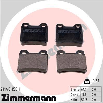 ZIMMERMANN  21140.155.1 Bremsbelagsatz, Scheibenbremse Breite: 62mm, Höhe: 58mm, Dicke/Stärke: 16mm