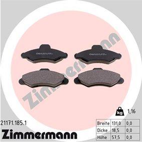 ZIMMERMANN Bremsbelagsatz, Scheibenbremse 21171.185.1 für FORD ESCORT VI Stufenheck (GAL) 1.4 ab Baujahr 08.1993, 75 PS