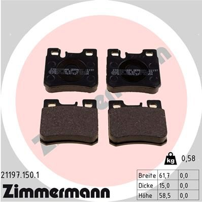 ZIMMERMANN  21197.150.1 Bremsbelagsatz, Scheibenbremse Breite: 62mm, Höhe: 58mm, Dicke/Stärke: 15mm