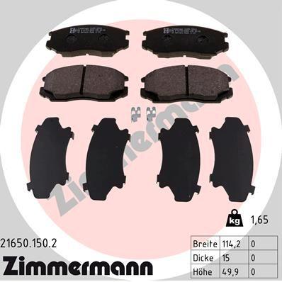 ZIMMERMANN  21650.150.2 Bremsbelagsatz, Scheibenbremse Breite: 114,2mm, Höhe: 49,9mm, Dicke/Stärke: 15,0mm