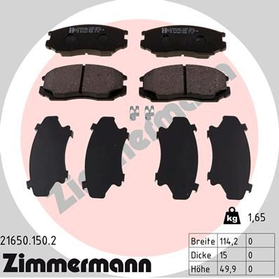ZIMMERMANN  21650.150.2 Bremsbelagsatz, Scheibenbremse Breite: 114mm, Höhe: 50mm, Dicke/Stärke: 15mm