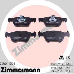 ZIMMERMANN  21664.195.1 Bremsbelagsatz, Scheibenbremse Breite 1: 151,4mm, Höhe 1: 59,9mm, Höhe 2: 66,1mm, Dicke/Stärke 1: 19,5mm