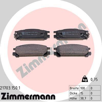 ZIMMERMANN  21703.150.1 Bremsbelagsatz, Scheibenbremse Breite: 108,0mm, Höhe: 38,7mm, Dicke/Stärke: 15,0mm