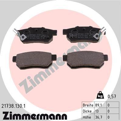 ZIMMERMANN  21738.130.1 Bremsbelagsatz, Scheibenbremse Breite: 89,1mm, Höhe: 36,7mm, Dicke/Stärke: 13,0mm