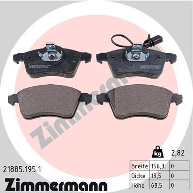 ZIMMERMANN  21885.195.1 Bremsbelagsatz, Scheibenbremse Breite: 156mm, Höhe: 68mm, Dicke/Stärke: 20mm