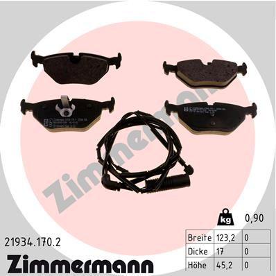 ZIMMERMANN  21934.170.2 Bremsbelagsatz, Scheibenbremse Breite: 123,2mm, Höhe: 45,2mm, Dicke/Stärke: 17,0mm