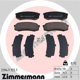 Bremsbelagsatz, Scheibenbremse Breite: 116mm, Höhe: 43,6mm, Dicke/Stärke: 16,0mm mit OEM-Nummer 4605A458