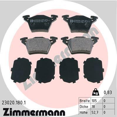 ZIMMERMANN  23020.180.1 Bremsbelagsatz, Scheibenbremse Breite: 105,0mm, Höhe: 52,7mm, Dicke/Stärke: 18,0mm