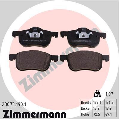 ZIMMERMANN  23073.190.1 Brake Pad Set, disc brake Width 1: 155mm, Width 2 [mm]: 156mm, Height 1: 72mm, Height 2: 69mm, Thickness: 19mm