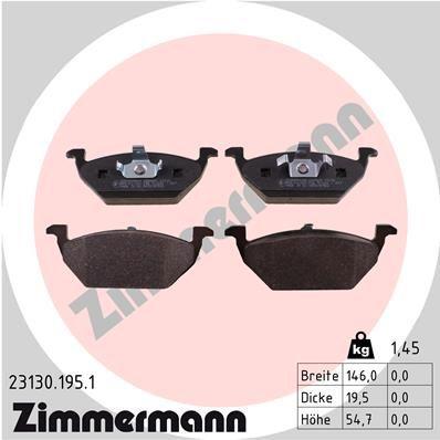 ZIMMERMANN  23130.195.1 Bremsbelagsatz, Scheibenbremse Breite: 146,0mm, Höhe: 54,7mm, Dicke/Stärke: 19,5mm
