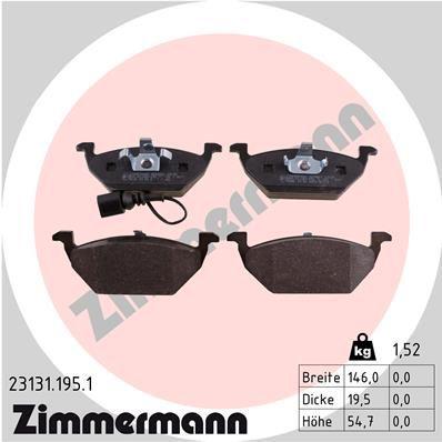 ZIMMERMANN  23131.195.1 Bremsbelagsatz, Scheibenbremse Breite: 146mm, Höhe: 55mm, Dicke/Stärke: 20mm